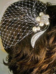 Bandeau Birdcage Veil, Wedding Blusher Veil, Rhinestone Veil. $45.00, via Etsy.