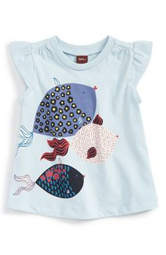 Tea Collection 'Shibori Fish' Graphic Cotton Tee (Baby Girls) available at #Nordstrom
