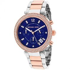 Michael Kors Women's MK6141 Parker Round Two-tone Bracelet Watch ($225) ❤ liked on Polyvore featuring jewelry, watches, blue, watch bracelet, stainless steel chronograph watch, two-tone watches, chrono watch and rose crown