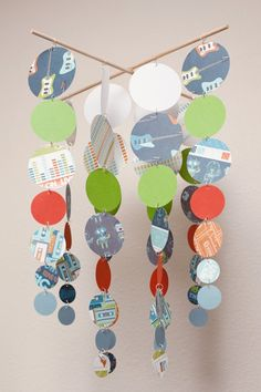 Card stock & paint chip mobile