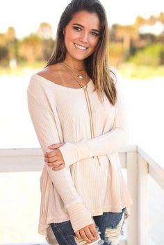 Beige Long Sleeve Top with Thumb Holes