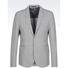 EMPORIO ARMANI Jacket In Seersucker ($1,095) ❤ liked on Polyvore featuring men's fashion, men's clothing, men's outerwear, men's jackets, grey, mens seersucker jacket, mens grey jacket and mens sherpa lined jacket