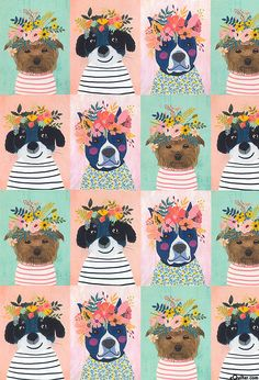 Floral Pets - Dogs in Bloom - Peach - 24 x 44 PANEL Quilt fabric online store Largest Selection, Fast Shipping, Best Images, Ship Worldwide Iphone Wallpaper Vsco, Dark Art Illustrations, Apple Watch Wallpaper, Dog Illustration, Dog Paintings, Dog Art, Nursery Art, Cute Wallpapers, Cute Art