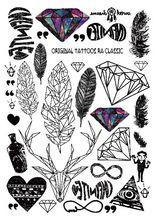 2016 Multi-Moda estilo Legal do Tatuagem Temporária com Penas e Diamante 21x15…