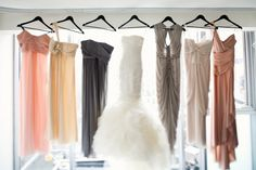 Love all the different color tones for the bridesmaids and Love this wedding dress... cool picture!