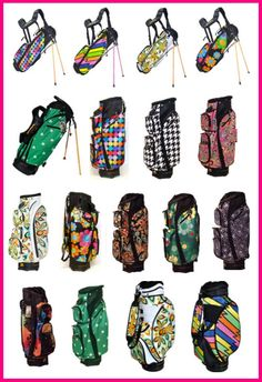 See the Bold Prints and Functionality in Loudmouth golf cart bags and stand bags!  #golfaccessories #golfstyle #lorisgolfshoppe