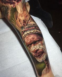 Amazing 3D Native American Sleeve Tattoo - 70 Native American Tattoo Designs