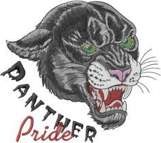 Animals Embroidery Design: Panther Pride from Machine Embroidery Designs Machine Embroidery Patterns, Panther, Applique, Pride, Lion Sculpture, Statue, Sewing, Fun, Animals
