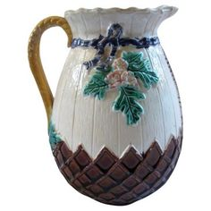 Check out this item at One Kings Lane! Antique Majolica Basket Jug