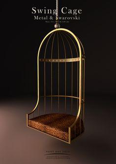 Swing Cage chair by Pont des Arts Studio (Paris). Steel Furniture, Deco Furniture, Unique Furniture, Luxury Furniture, Furniture Design, Plywood Furniture, Hanging Hammock Chair, Swinging Chair, Hanging Chairs