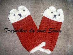 Trabalhos da vovó Sônia: Polaina infantil vermelha ursinho - crochê