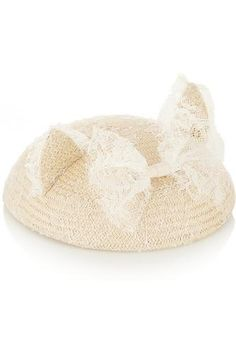 Bibi Yoko lace-trimmed straw hat #accessories #covetme #maisonmichel