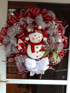 Deco Mesh Christmas Snowman via Etsy.