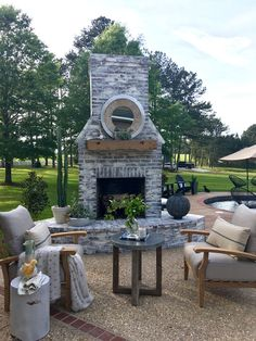 Outdoor Brick Fireplace. Outdoor Brick Fireplace with whitewash. The mantel is a beam my husband had made out of cypress! We enjoy setting here with a fire on a cool night! Outdoor Brick Fireplace ideas Outdoor Brick Fireplace Whitewash #OutdoorBrickFireplace #OutdoorFireplace #BrickFireplace #whitewashbrick #OutdoorBrickFireplaceideas #OutdoorBrickFireplaceWhitewash Beautiful Homes of Instagram @cindimc.ivoryhome