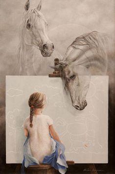 Kai Fine Art is an art website, shows painting and illustration works all over the world. Arte Equina, Art Amour, Illustration Manga, Instalation Art, Spanish Artists, Wow Art, Equine Art, Horse Art, Art Design
