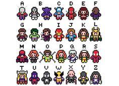 Marvel Alphabet Cross Stitch Pattern by XStitchMyHeart - I like the little Loki… Marvel Cross Stitch, Cross Stitch Baby, Cross Stitch Alphabet, Cross Stitching, Cross Stitch Embroidery, Cross Stitch Patterns, Perler Beads, Pixel Art, Hero Crafts
