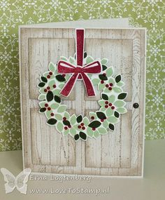 """Stampin' Up! .... handmade card:Christmas with the Hardwood stamp ... look of an aged white washed door ... stamped and die cut wreath in light and dark greens with red berries ... could be an """"anytime"""" wreath with a switchout of colors ..."""