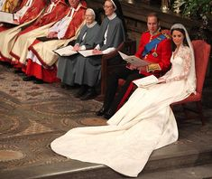 Prince William and Kate Middleton during their wedding service ...