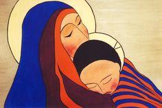 Gisele Bauche, Madonna and Child, Acrylic, spiritualityandart,ca
