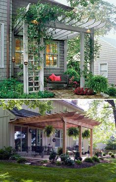 The pergola kits are the easiest and quickest way to build a garden pergola. There are lots of do it yourself pergola kits available to you so that anyone could easily put them together to construct a new structure at their backyard. Wooden Pergola, Outdoor Pergola, Backyard Pergola, Pergola Kits, Outdoor Rooms, Backyard Landscaping, Gazebo, Small Pergola, Pergola Roof