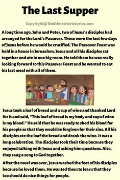 This is The Last Supper In The Bible story for kids to read. Read the full story from the link above. Stories With Moral Lessons, English Moral Stories, Short Moral Stories, English Stories For Kids, Moral Stories For Kids, Short Stories For Kids, English Story, English Lessons For Kids, Kids English