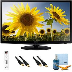 "cool 28"" Slim LED HD 720p TV Clear Motion Rate one hundred twenty Plus Hook-Up Bundle - UN28H4000. Bundle Includes TV, A Outlet Surge protector with P USB Ports, P -S ft High Speed 3D Ready 1080p HDMI Cable, Performance TV/LCD Screen Cleaning Kit, and Cleaning Cloth."