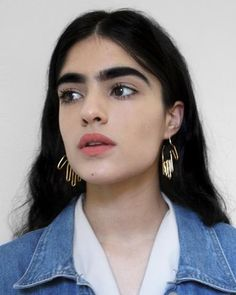 """Hand fabricated hand earrings. Made by hand in Richmond, VA by Christine Young. // Available in gold plated/gold filled posts or sterling silver/sterling silver posts // Height: 2.25"""""""