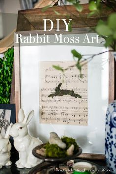 "Today is day two of my ""crafting with moss"" week, and today I am sharing how I made this simple, yet chic DIY Rabbit Moss Art. Around Easter, I like adding a few bunny touches here and there in my decor, but I tend to keep it fairly simple and understated. This way we can …"