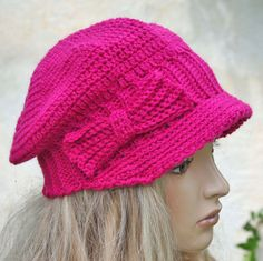 Womens Hat Winter Peaked Cap Crochet . Hat for autumn / winter/ spring / crochet done .   This peaked cap is perfect for any hair style for teens and women. 100% hand knitted by me using blend acrylic100% yarn and should fit the average adult head. Crochet bow adorn this cap.  Size .20 - 23 inches(55-59cm)  A single copy  A method for making crochet   Used materials : acrylic  Hand wash and lay it flat to dry