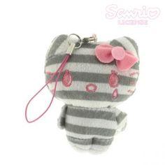 Sanrio Hello Kitty Stripe Series Plush Doll Cell Phone Strap (Gray)