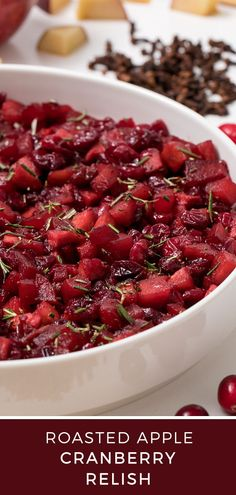 Roasted apple cranberry relish is an exciting twist to the classic cranberry sauce recipe Side Dish Recipes, New Recipes, Side Dishes, Roasted Apples, Cranberry Relish, Casserole Dishes, Vegan Vegetarian, Food Videos, Yummy Food