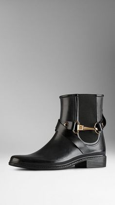 Burberry Equestrian Buckle Chelsea Rain Boots. I dislike the look for regular rainboots! These are definitely a better alternative.