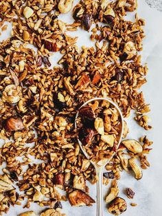 No more boring breakfasts - take 10mins to make a batch of this Maple Cinnamon Grain Free Granola to sprinkle on your oatmeal. Vegan, gluten free and yum!