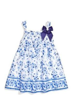 Rare Editions  Floral Swiss Dot Dress Toddler Girls