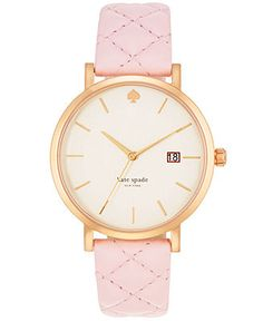 kate spade new york Women's Metro Grand Light Pink Quilted Leather Strap Watch 38mm 1YRU0356 - Kate Spade - Jewelry & Watches - Macy's