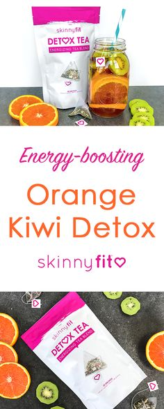Get a steady boost of energy without the crash and keep up with your kids all day long by trying out this Orange Kiwi SkinnyFit Detox Tea Recipe! Detox Tea Diet, Detox Drinks, Healthy Drinks, Detox Smoothies, Healthy Foods, Healthy Eating, Detox Recipes, Tea Recipes, Recipies