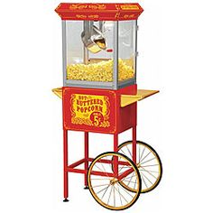 Totally getting one of these for the reception.  <3 @Overstock - Create irresistible theater-style popcorn with this popcorn machine. This machine features a stainless-steel hot oil kettle with a built-in stirring system.http://www.overstock.com/Home-Garden/Full-Size-Red-Carnival-Style-8-oz-Hot-Oil-Popcorn-Machine-with-Cart/4680225/product.html?CID=214117 $259.68