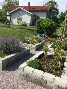 Odlingslådor i sten Veg Garden, Vegetable Garden Design, Garden Paths, Garden Beds, Garden Landscaping, Farm Gardens, Outdoor Gardens, Vegetable Planters, Rose Garden Design
