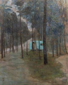 Sold Lodge. Bought Caravan!   -   Nathalie Mannaerts . 2013.   Dutch,  Acryl en graffiti on canvas, 1,60 x 2.00 m