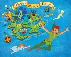 size photo re print of NeverLand with Peter Pan, Wendy and Tinkerbell. Peter Pan Disney, Peter Pan And Tinkerbell, Walt Disney, Disney Magic, Disney Art, Disney Theme, Neverland Map, Peter Pan Neverland, Neverland Tattoo