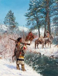 View Blackfeet Hunting Party by Hubert Wackermann on artnet. Browse upcoming and past auction lots by Hubert Wackermann. Native American Warrior, Native American Wisdom, Native American Beauty, American Indian Art, American Indians, Native American Paintings, Native American Pictures, Native American Artists, Indian Paintings
