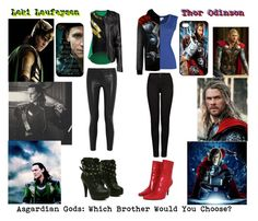 """Asgardian Gods: Which Brother Would You Choose?"" by the-freak-of-nature ❤ liked on Polyvore featuring Boohoo, J Brand, Velvet by Graham & Spencer, Stuart Weitzman and Disney"