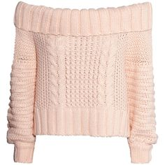 H&M Off-the-shoulder jumper ($25) ❤ liked on Polyvore featuring tops, sweaters, shirts, jumpers, powder pink, off the shoulder tops, pink long sleeve shirt, pink shirts, short shirts and off shoulder sweater