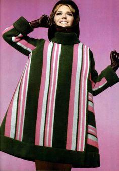 French fashion 1960's, mode, Paris, Pierre Cardin cape 1967 L'officiel magazine.