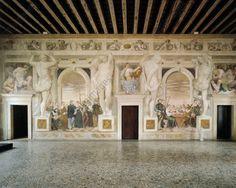 Villa Caldogno près de Vicence (Vénétie, Italie ) , ca. construit 1542-1545 pour Angelo Caldogno ; architecte : Andrea Palladio . Fresques, vers 1570, par Giovanni Antonio Fasolo
