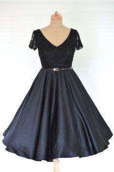 Černé retro šaty LOREN s krajkou