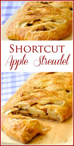 An easy, shortcut apple strudel version using frozen puff pastry. A great quick Autumn dessert when apples are at their plentiful peak & time is very short.