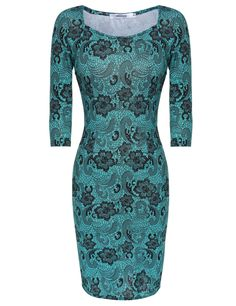 Vintage Style Floral Print Square Neck Bodycon Casual Dress