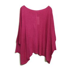 Batwing Sleeves Oversized Amaranth Jumper ($44) ❤ liked on Polyvore featuring tops, sweaters, shirts, blouses, blusas, purple top, round neck sweater, stitch sweater, oversized sweaters and jumper shirt