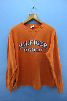 d4cd3b52c65 Vintage Tommy Hilfiger Denim Big Spell Out Logo Sweatshirt Urban Fashion  Pull Over Sweater Size L